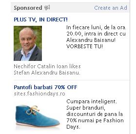 Alexandru Băişanu reclamă pe facebook