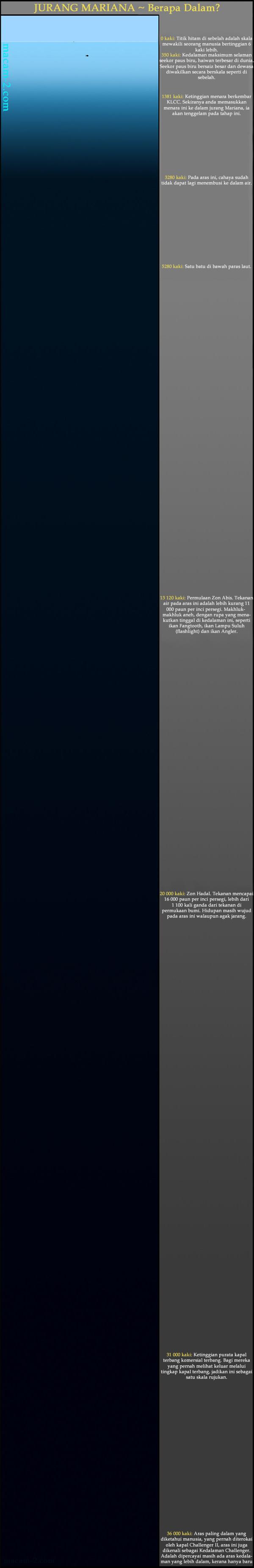 Jurang Mariana – Berapa dalam Lautan Kita?  0 kaki: Titik hitam di sebelah adalah skala mewakili seorang manusia bertinggian 6 kaki lebih.  350 kaki: Kedalaman maksimum selaman seekor paus biru, haiwan terbesar di dunia. Seekor paus biru bersaiz besar dan dewasa diwakilkan secara berskala seperti di sebelah.  1381 kaki: Ketinggian menara berkembar KLCC. Sekiranya anda memasukkan menara ini ke dalam jurang Mariana, ia akan tenggelam pada tahap ini.  3280 kaki: Pada aras ini, cahaya sudah tidak dapat lagi menembusi ke dalam air.  5280 kaki: Satu batu di bawah paras laut.  13 120 kaki: Permulaan Zon Abis. Tekanan air pada aras ini adalah lebih kurang 11 000 paun per inci persegi. Makhluk-makhluk aneh, dengan rupa yang menakutkan tinggal di kedalaman ini, seperti ikan Fangtooth, ikan Lampu Suluh (flash light) dan ikan Angler.  20 000 kaki: Zon Hadal. Tekanan mencapai 16 000 paun per inci persegi, lebih dari 1 100 kali ganda dari tekanan di permukaan bumi. Hidupan masih wujud pada aras ini walaupun jarang.  31 000 kaki: Ketinggian purata kapal terbang komersial terbang. Bagi mereka yang pernah melihat keluar melalui tingkap kapal terbang, jadikan ini satu skala rujukan.  36 000 kaki: Aras paling dalam yang diketahui manusia, yang pernah diterokai oleh kapal Challenger II, aras ini juga dikenali sebagai Kedalaman Challenger. Adalah dipercayai masih ada aras kedalaman yang lebih dalam, kerana hanya baru 10% sahaja dari lautan dipetakan.