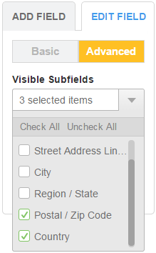 Address Field - Visible Subfields