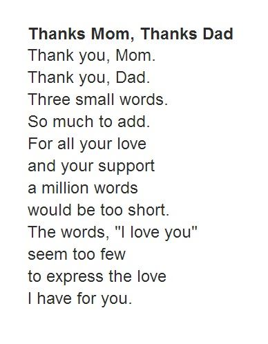 A Short Pa S Day Poem From Kid With Le Thanks Mom Dad