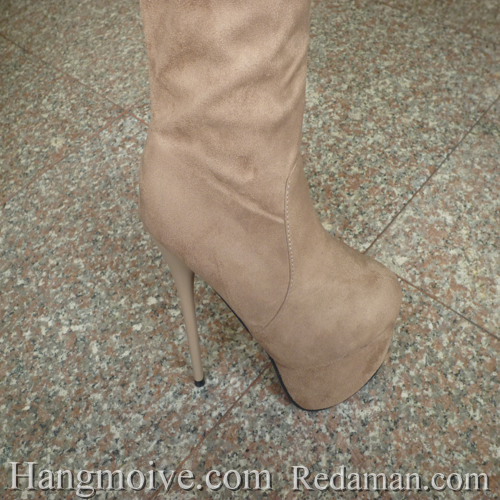 Boots cao cổ quá đầu gối, da lộn, gót nhọn, màu be 4 - Chỉ với 1.090.000đ