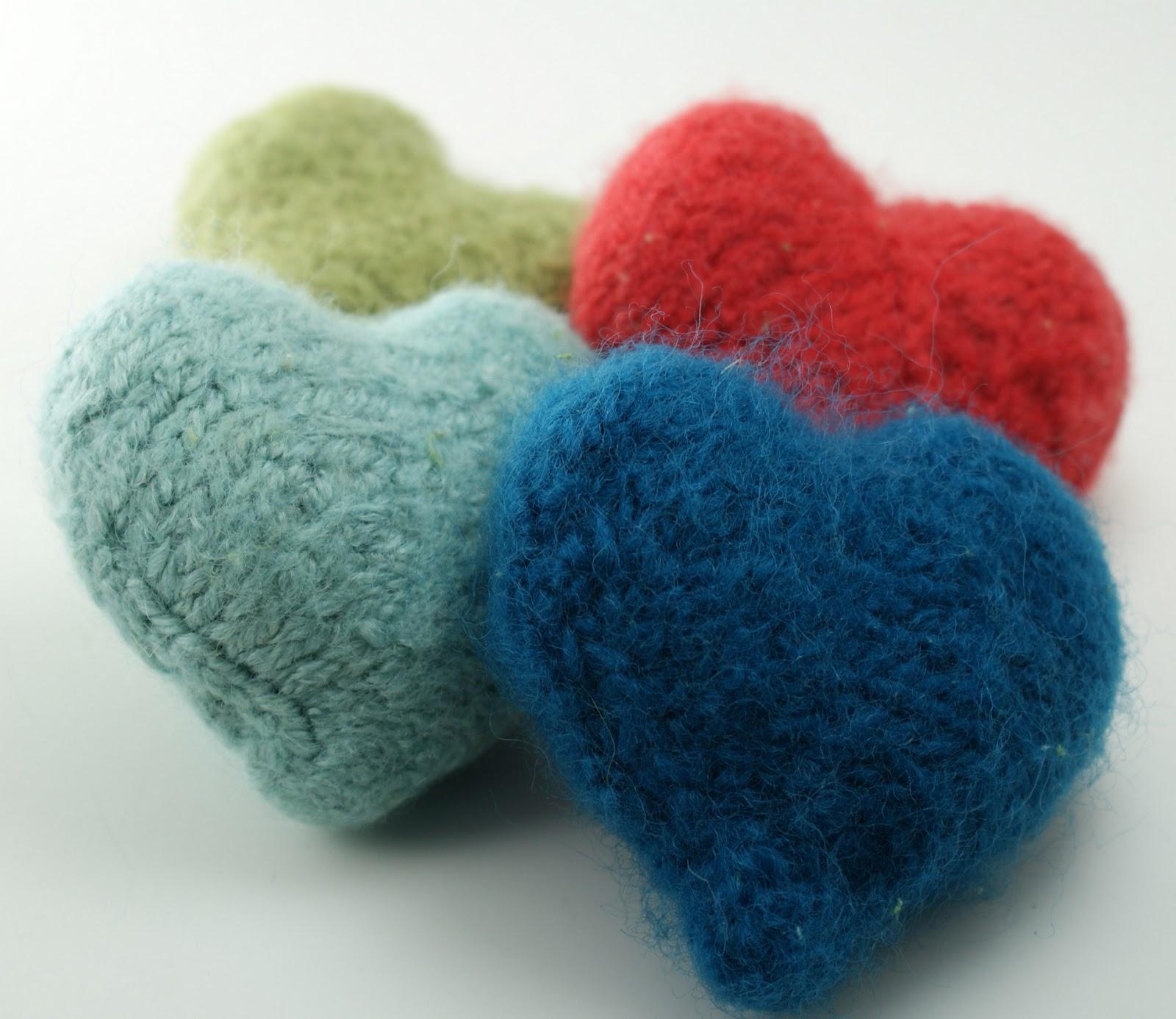 Knitted Hearts Door Knob Hanger