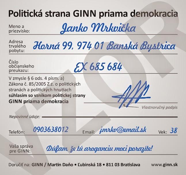 Podpis, súhlas s registráciou strany GINN priama demokracia