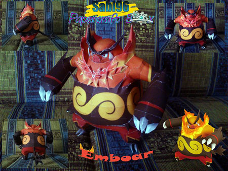 Pokemon Emboar Papercraft