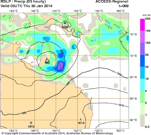 rainfall forecast nth qld low 30th jan 2014