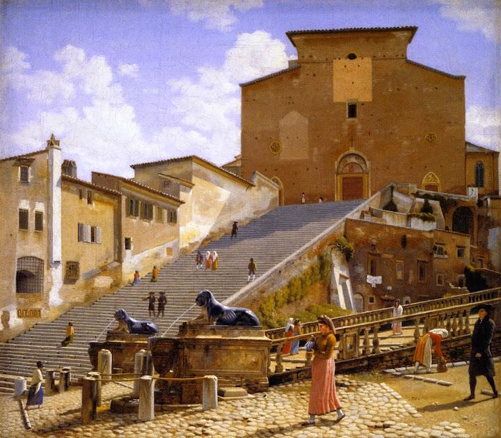 Christoffer Wilhelm Eckersberg - The Marble Steps Leading Up to Santa Maria in Aracoeli in Rome