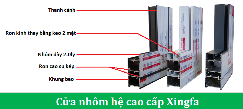 Cấu tạo của hệ nhôm Xingfa làm cửa chính 4 cánh