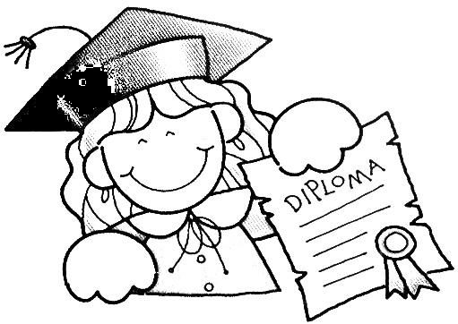 Graduada con diploma para colorear