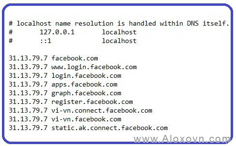 File hosts để vào facebook