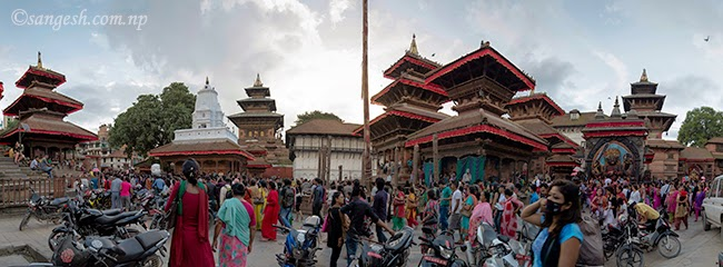 Wide angle photo taken covering Taleju, Kal Bhairav and Swet Bhairav