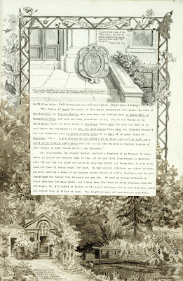 A Record of Shelford Parva by Fanny Wale P76 fo. 78, page 76: At the top of the page is a sketch of Palavicini's coat of arms and description, taken from William Cole's manuscripts. At the bottom is a watercolour of the bathing tank and dam across the Granta to turn the water into moat made by Palavicini (border). [fo.59]