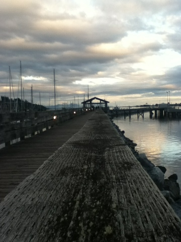 Comox Marina boardwalk at sunset