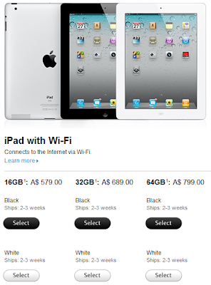 iPad 2 Shipping Delays Screenshot