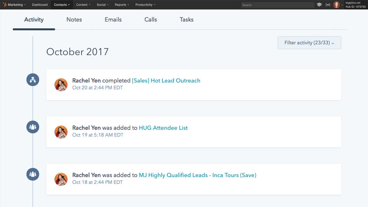 hubspot lead management customer tracking demo