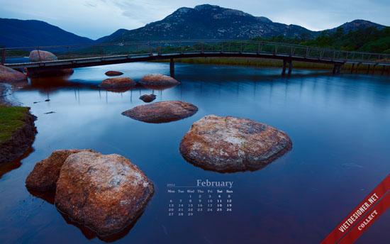 Bộ hình nền kèm lịch tháng 2/2012 với thiết kế phong cảnh tuyệt đẹp