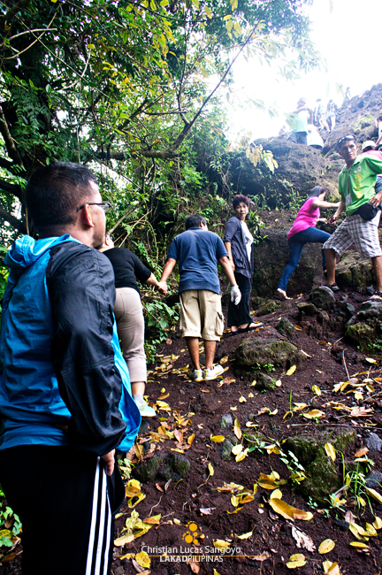 Climbing to the Lava Wall at Mayon's Lava Trail