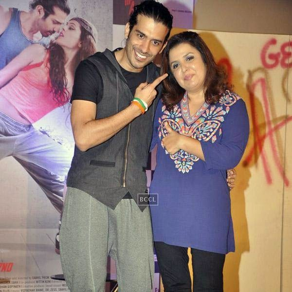 Saahil Prem and Farah Khan pose for a photo during the trailer launch of Bollywood movie Mad About Dance, held at Fun Republic, on July 16, 2014.(Pic: Viral Bhayani)