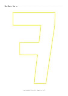 Dibujo para colorear y pintar el número siete en color amarillo