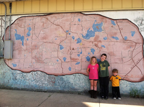 Map of the local area painted on the side of the store.  It's been there to YEARS!