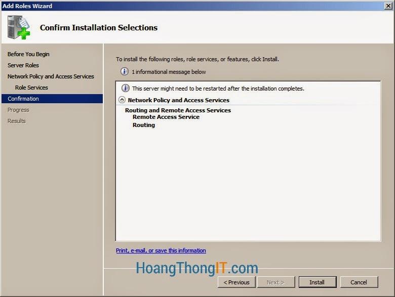 cài đặt DHCP Relay Agent trên windows 2008