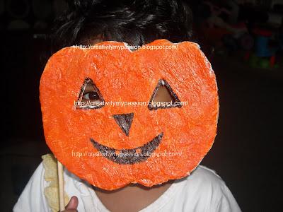 Pumpkin Paper mache mask