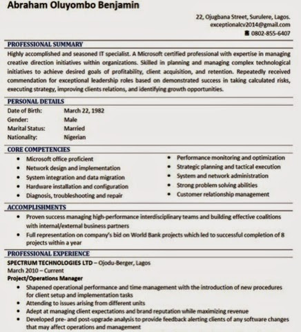 how to write a quick catchy cv sample photo included