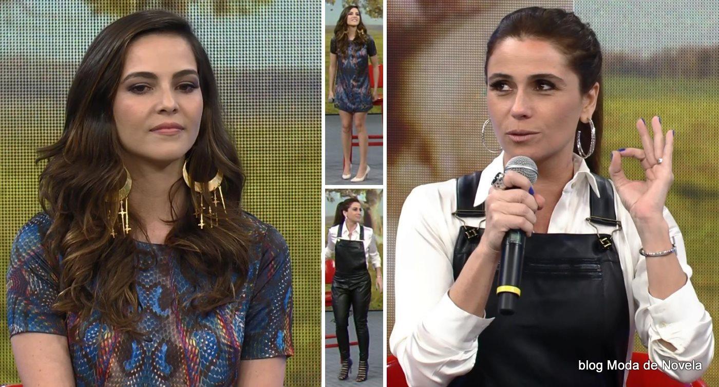 moda do programa Domingão do Faustão - looks de Giovanna Antonelli e Tainá Müllerdia 6 de julho