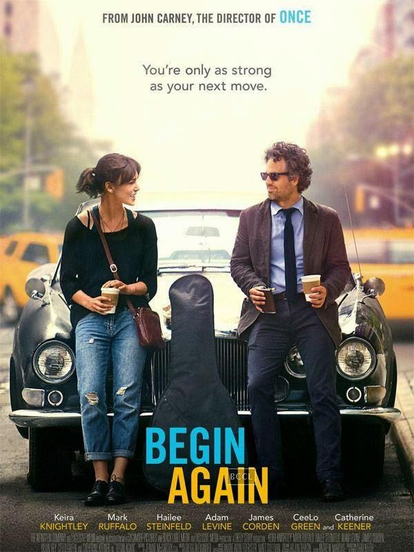 Poster of Hollywood musical romantic comedy-drama Begin Again starring Keira Knightley and Mark Ruffalo.