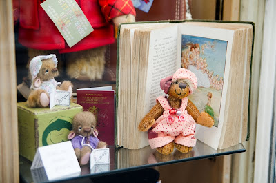 Handmade Teddy Bears in shop window
