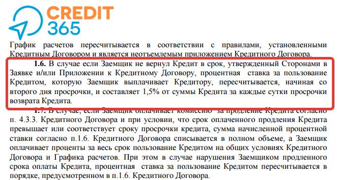 Информация о размере комиссии, начисляемой при просроченном кредите в правилах предоставления кредита