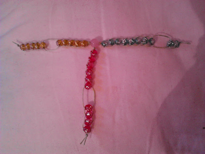 Three linked strings of slide-able yellow, blue and pink beads