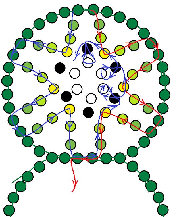 Зелёный браслет из бисера. Схема 1.
