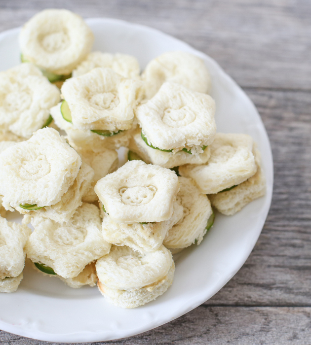 overhead photo of cucumber sandwiches