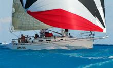 J/120 sailing into finish line off Nassau, Bahamas
