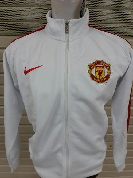 Jaket Manchester United Putih Polos List Merah 2014-2015