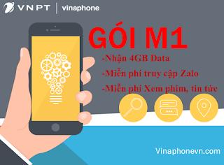 Nhận 4GB tốc độ cao, miễn phí Xem phim và sử dụng Zalo với gói M1 VinaPhone