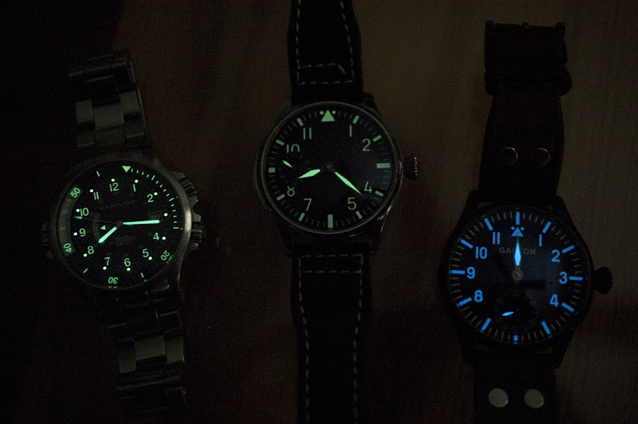 Comparison of lume between Hamilton Khaki Navy GMT, the Parnis, and       the Garton.