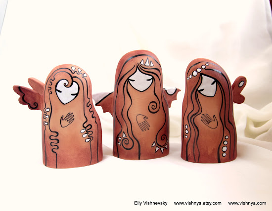 Авторская керамика Элли Вишневской. Добрые духи. Терракота. Hand Made Ceramic and pottery Eco-Friendly Home Decor by Elly Vishnevsky.