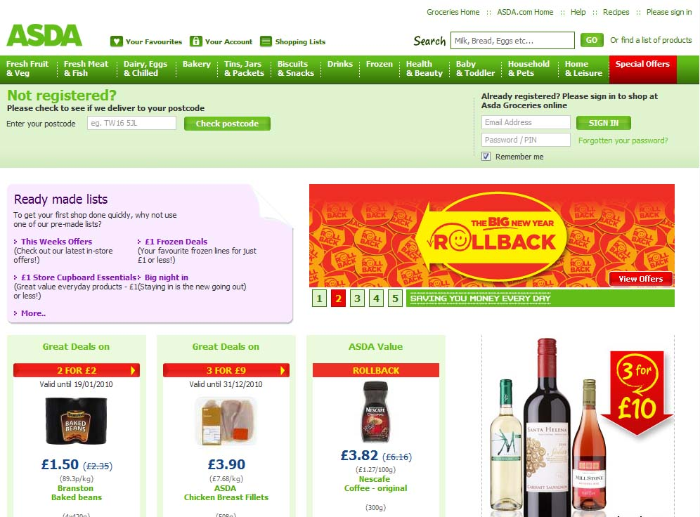 When you've ticked everything off your shopping list you can collect your ASDA groceries in-store for free or get your shopping delivered to your door for as little as £1. Don't worry about doing your shopping online as ASDA's personal shoppers will pick and pack all your items carefully.