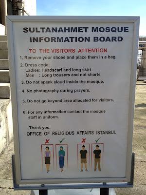 Regras para vista a uma mesquita em Istambul