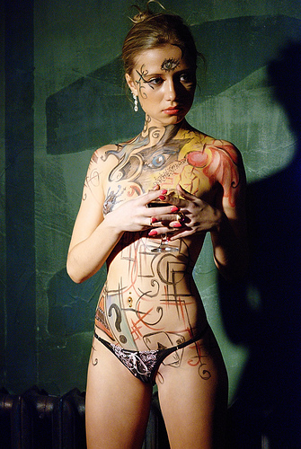 Body Painting With Henna(4pics)  #body painting:Best,body painting,online girls,fun girls