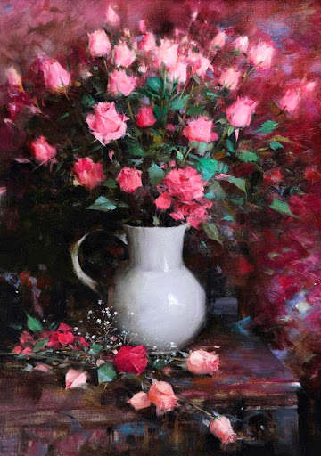 classica pink roses wall art printed oil painting on ca