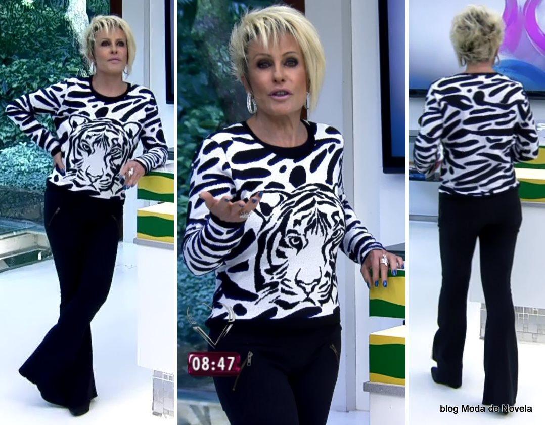 moda do programa Mais Você - look da Ana Maria com blusa cara de tigre dia 9 de julho