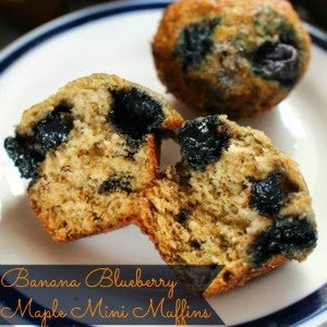 Banana Blueberry Maple Mini Muffins