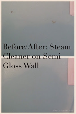Before and after pictures of steam cleaner used for semi gloss paint walls.