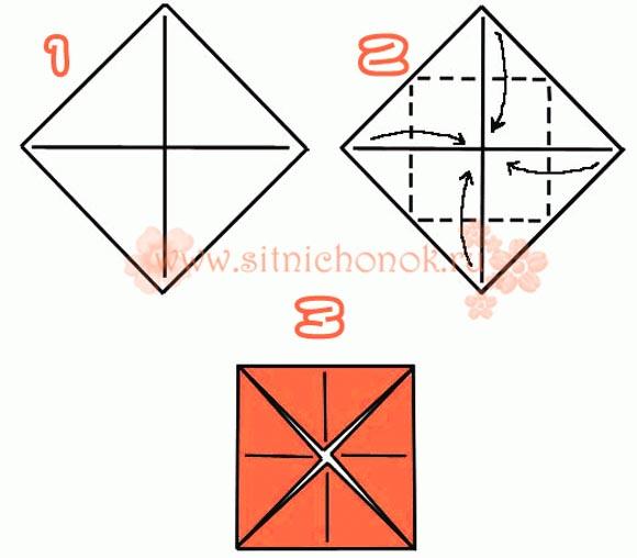 базовая форма оригами блин