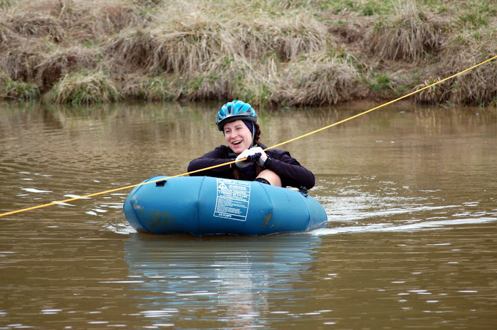 Kage in a Pack Raft at the Deuce Adventure Race