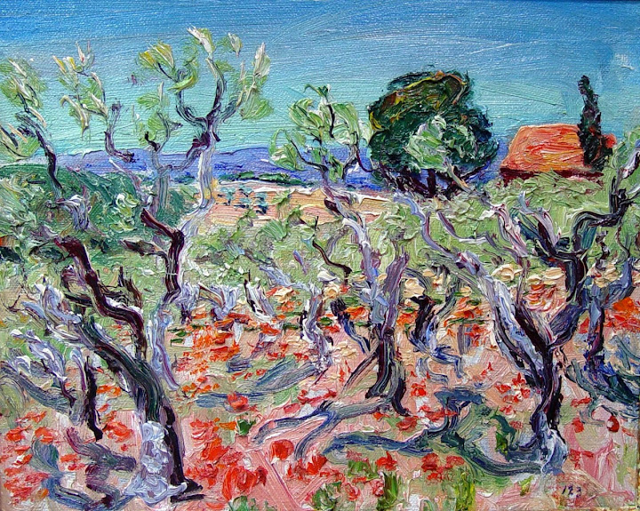 René Seyssaud - Olive Wood and Poppies