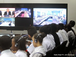 Vidéo conférence de l'Onu  animé par le secrétaire général, Ban Ki-moon  le 19/09/2014 à Kinshasa. Radio Okapi/Ph. John Bompengo