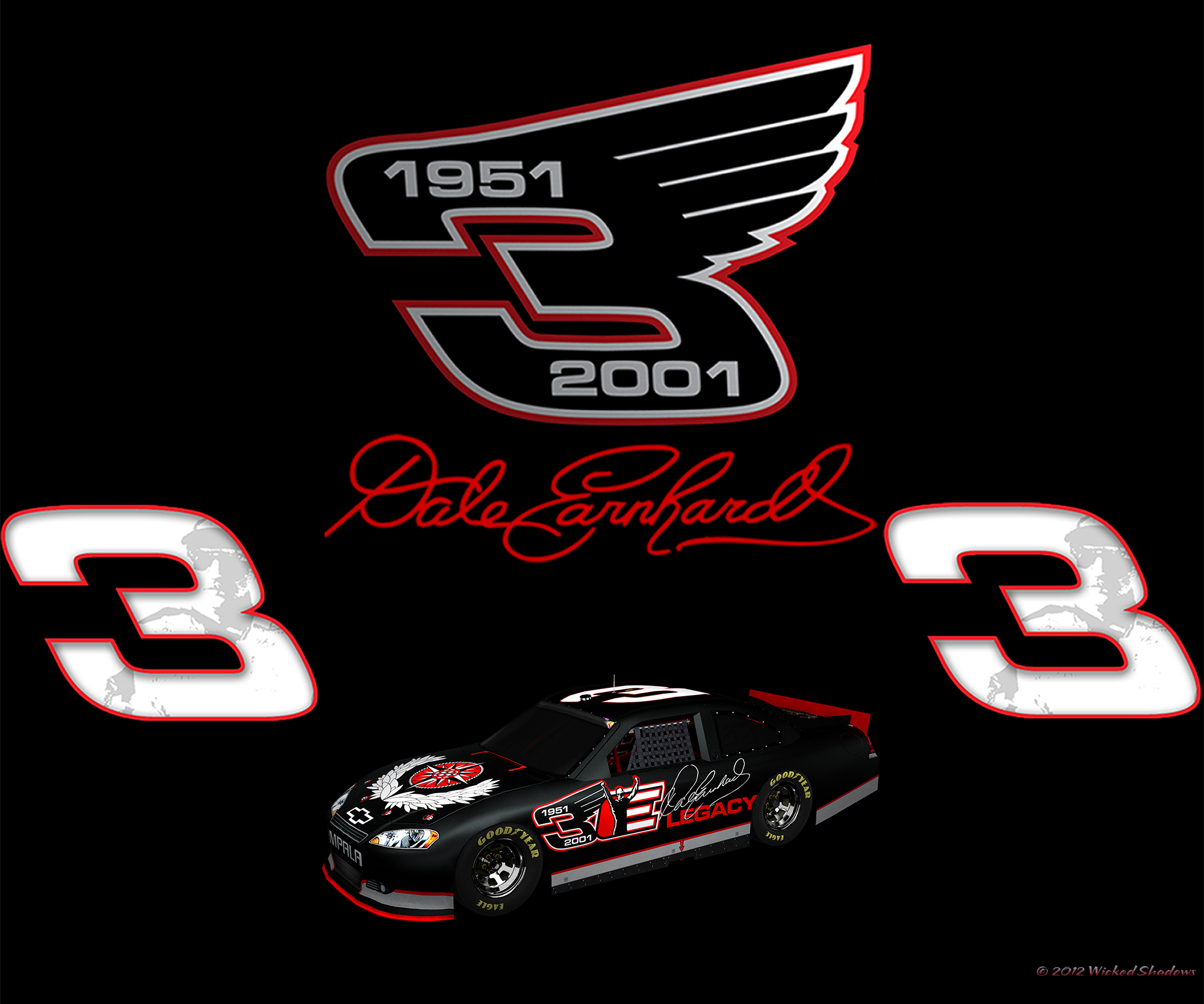 wallpapers by wicked shadows dale earnhardt sr blackout